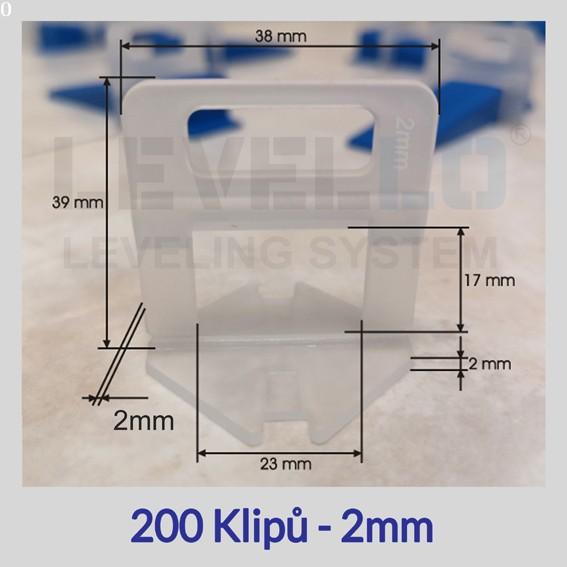 Nivelační klipy Eko 2 mm, 200 kusů