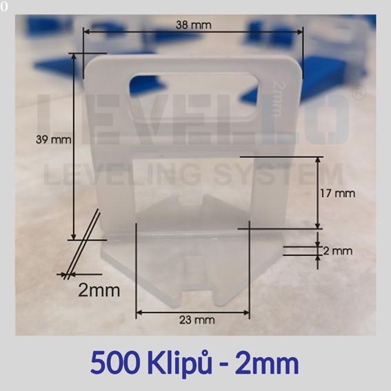 Nivelační klipy Eko 2 mm, 500 kusů