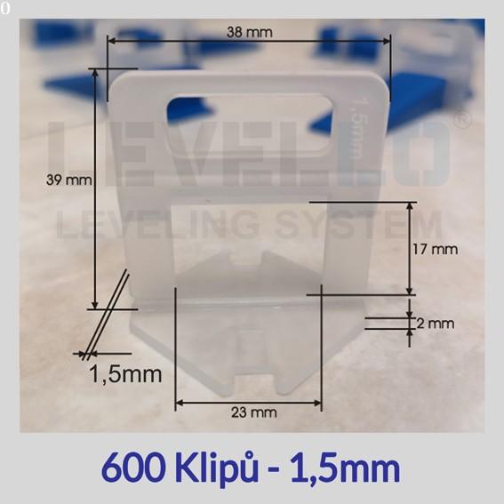 Nivelační klipy Eko 1,5 mm, 600 kusů