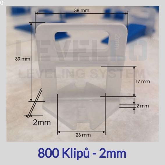 Nivelační klipy Eko 2 mm, 800 kusů
