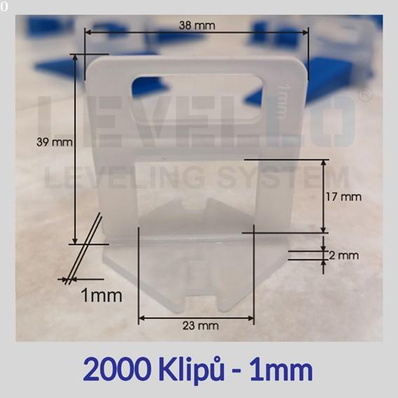 Nivelační klipy Eko 1 mm, 2000 kusů