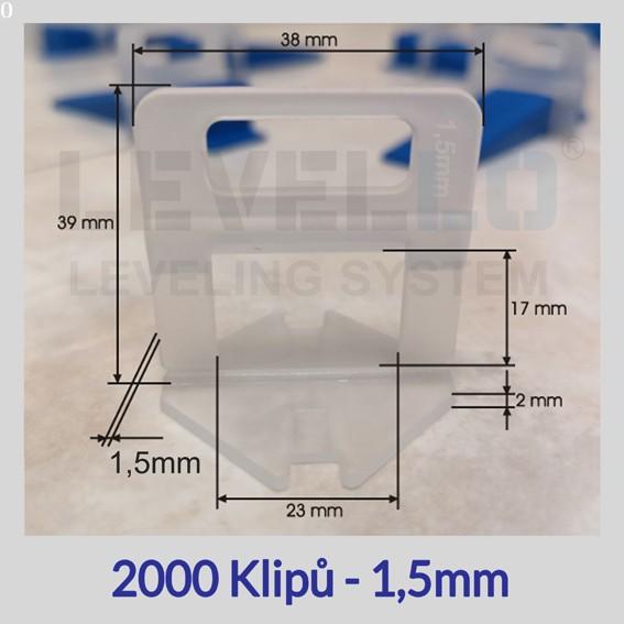 Nivelační klipy Eko 1,5 mm, 2000 kusů