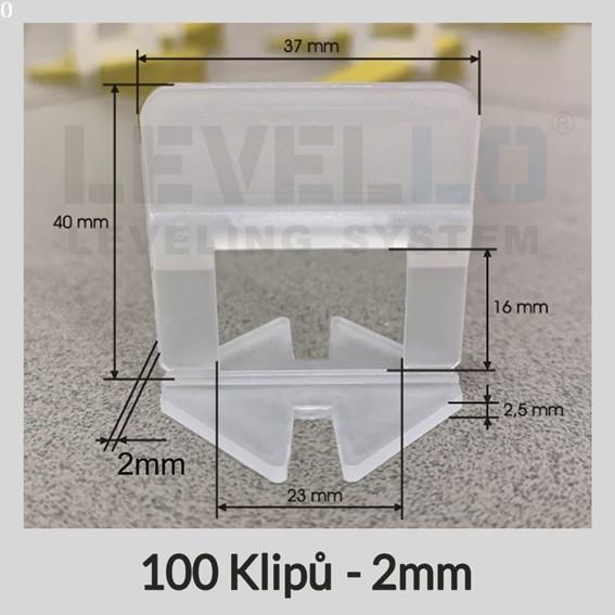 Nivelační klipy Klasik 2 mm, 100 kusů