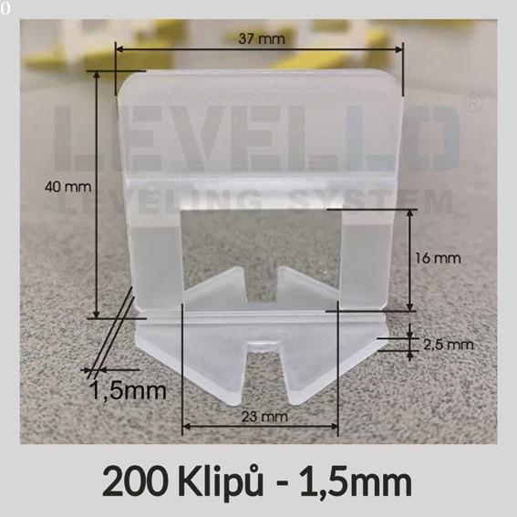 Nivelační klipy Klasik 1,5 mm, 200 kusů