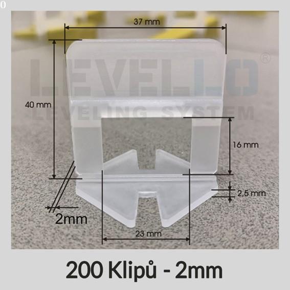 Nivelační klipy Klasik 2 mm, 200 kusů
