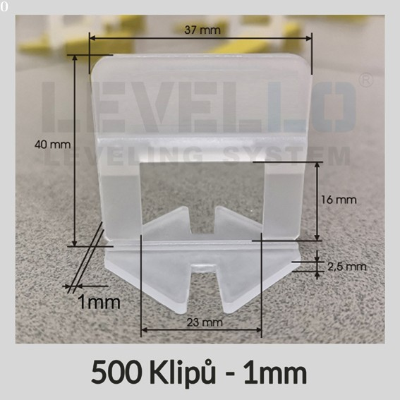 Nivelační klipy Klasik 1 mm, 500 kusů