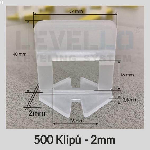 Nivelační klipy Klasik 2 mm, 500 kusů