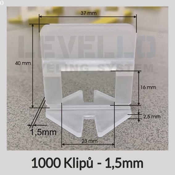 Nivelační klipy Klasik 1,5 mm, 1000 kusů