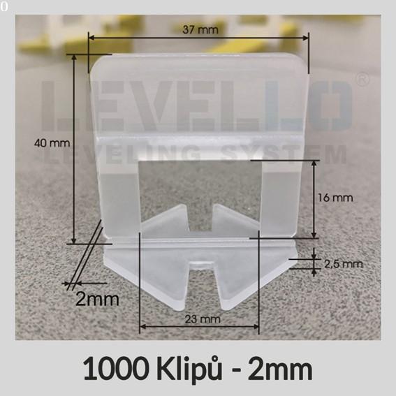 Nivelační klipy Klasik 2 mm, 1000 kusů