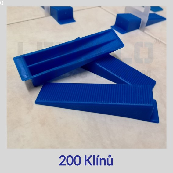 Nivelační klíny modré, 200 kusů